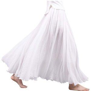 bohemian white maxi skirt